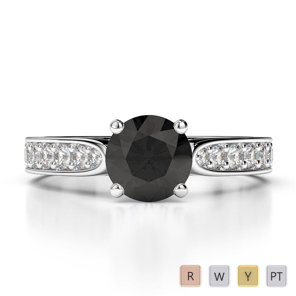Gold / Platinum Round Cut Black Diamond with Diamond Engagement Ring AGDR-1221