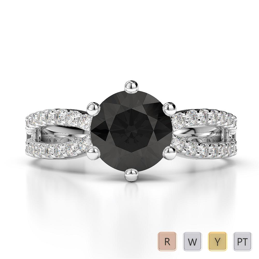 Gold / Platinum Round Cut Black Diamond with Diamond Engagement Ring AGDR-1223
