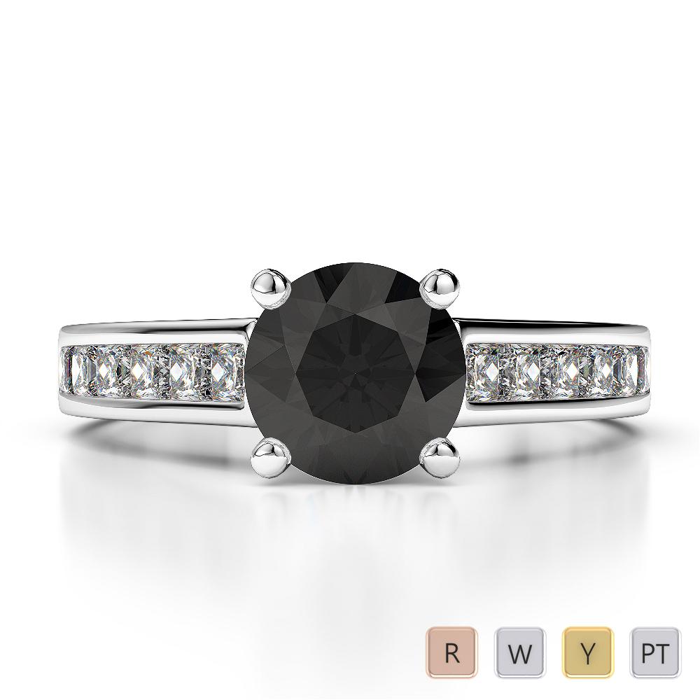 Gold / Platinum Round and Princess Cut Black Diamond with Diamond Engagement Ring AGDR-1224