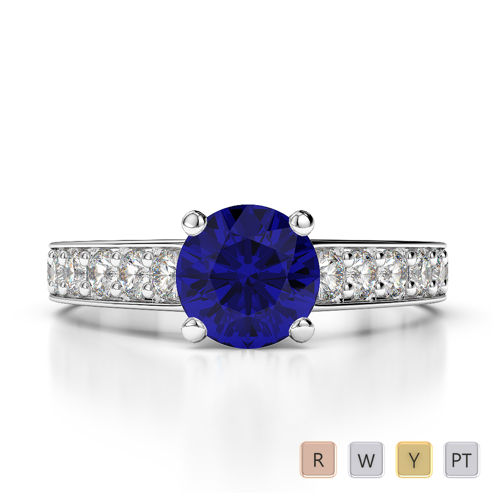 Gold / Platinum Round Cut Sapphire and Diamond Engagement Ring AGDR-1202