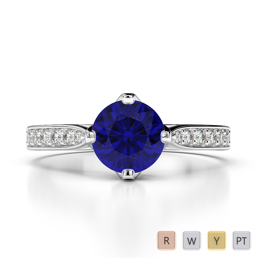 Gold / Platinum Round Cut Sapphire and Diamond Engagement Ring AGDR-1204