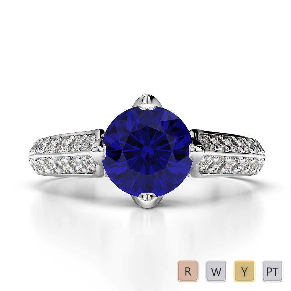 Gold / Platinum Round Cut Sapphire and Diamond Engagement Ring AGDR-1205