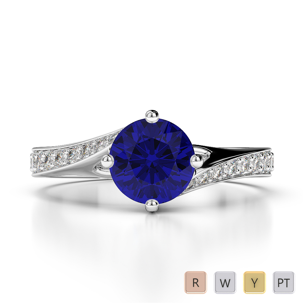 Gold / Platinum Round Cut Sapphire and Diamond Engagement Ring AGDR-1207