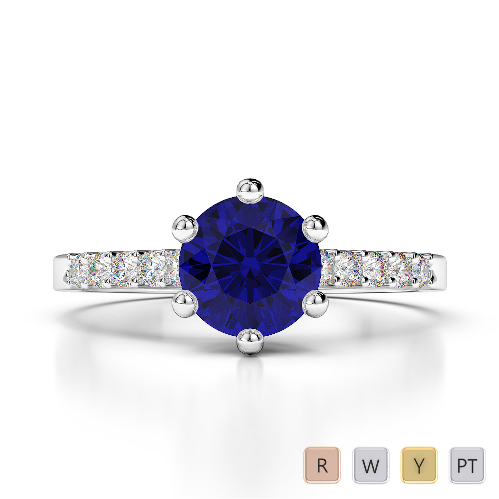 Gold / Platinum Round Cut Sapphire and Diamond Engagement Ring AGDR-1208