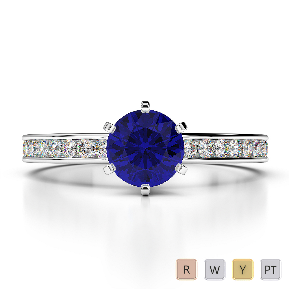 Gold / Platinum Round Cut Sapphire and Diamond Engagement Ring AGDR-1214