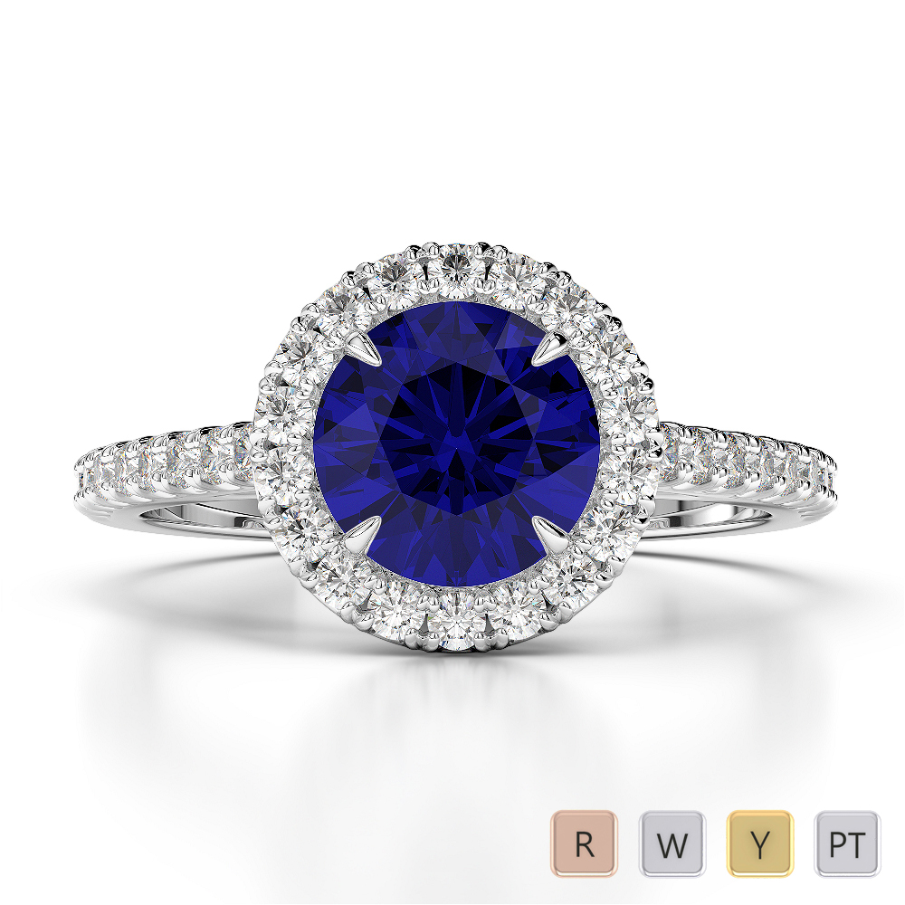 Gold / Platinum Round Cut Sapphire and Diamond Engagement Ring AGDR-1215