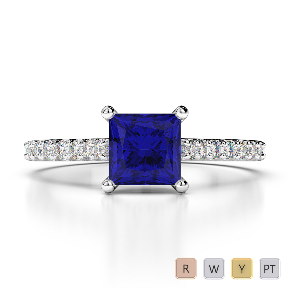 Gold / Platinum Princess and Round Cut Sapphire and Diamond Engagement Ring AGDR-1217