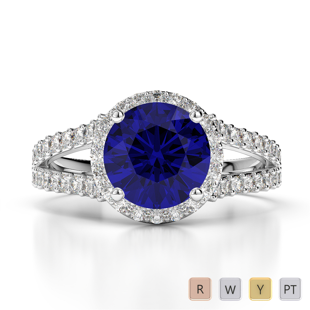 Gold / Platinum Round Cut Sapphire and Diamond Engagement Ring AGDR-1220