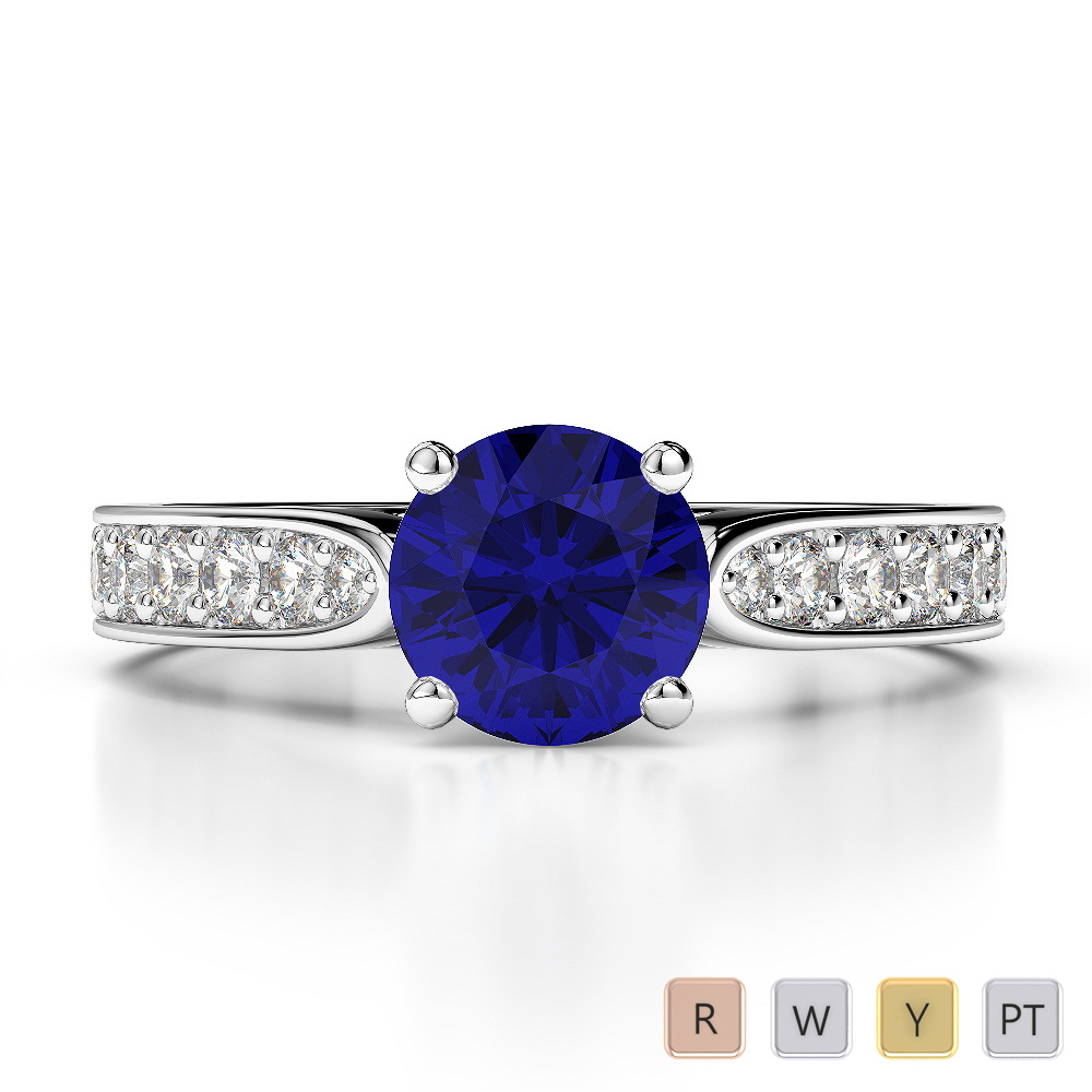 Gold / Platinum Round Cut Sapphire and Diamond Engagement Ring AGDR-1221