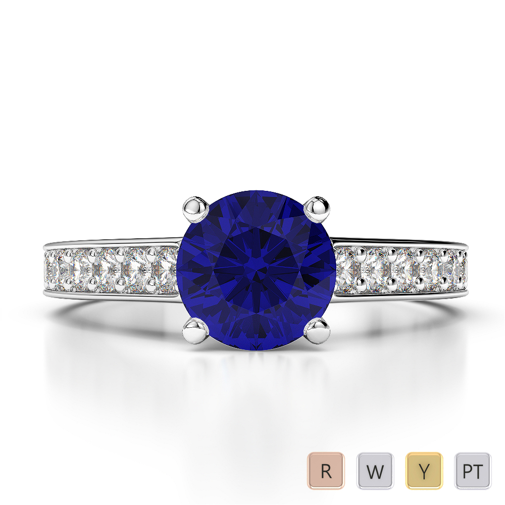 Gold / Platinum Round Cut Sapphire and Diamond Engagement Ring AGDR-1222