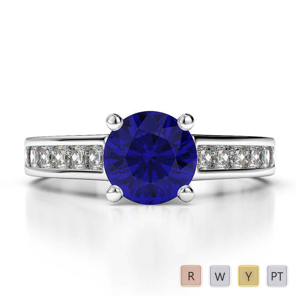 Gold / Platinum Princess and Round Cut Sapphire and Diamond Engagement Ring AGDR-1224
