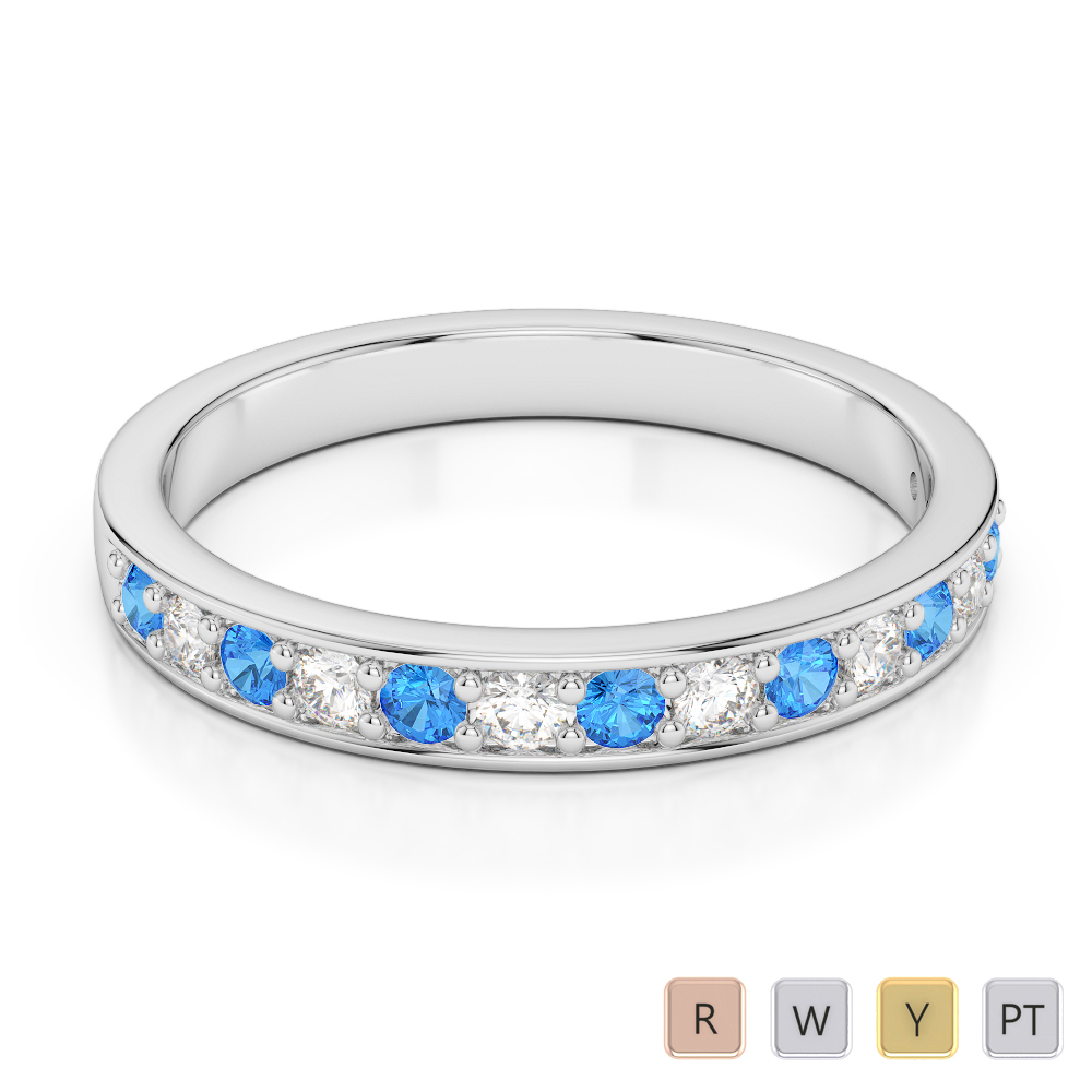 2.5 MM Gold / Platinum Round Cut Blue Topaz and Diamond Half Eternity Ring AGDR-1083