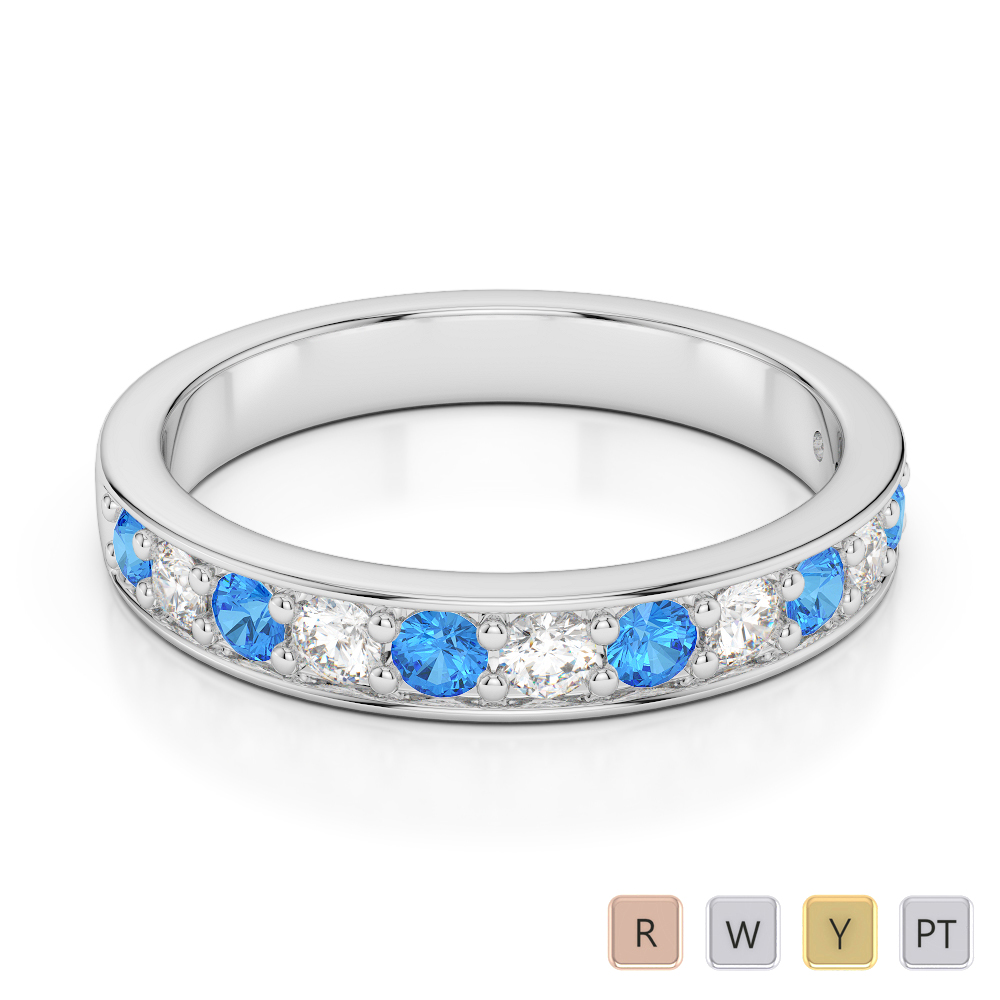 3 MM Gold / Platinum Round Cut Blue Topaz and Diamond Half Eternity Ring AGDR-1084