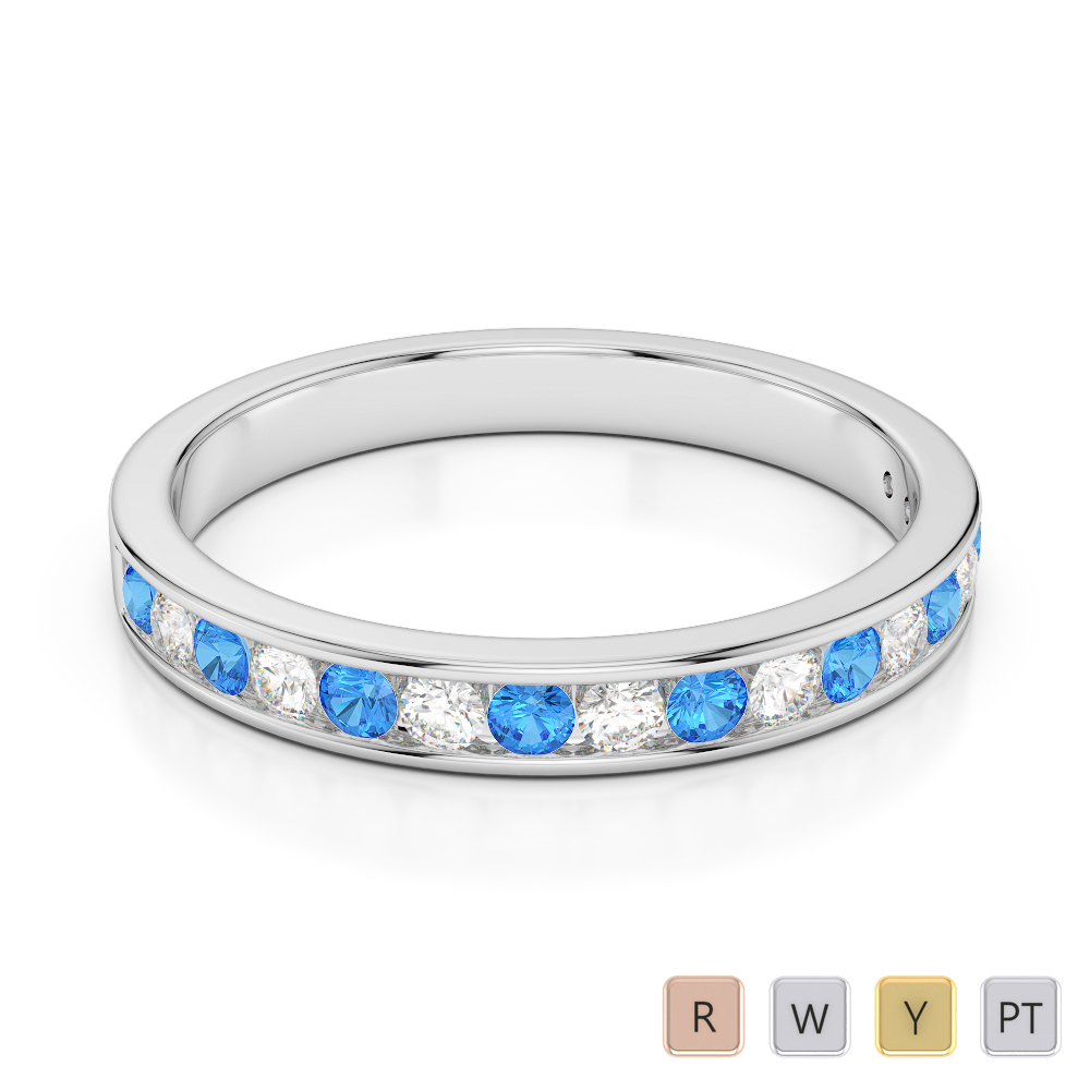 3 MM Gold / Platinum Round Cut Blue Topaz and Diamond Half Eternity Ring AGDR-1090