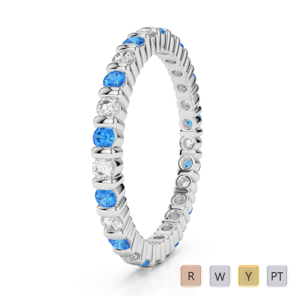 2 MM Gold / Platinum Round Cut Blue Topaz and Diamond Full Eternity Ring AGDR-1092