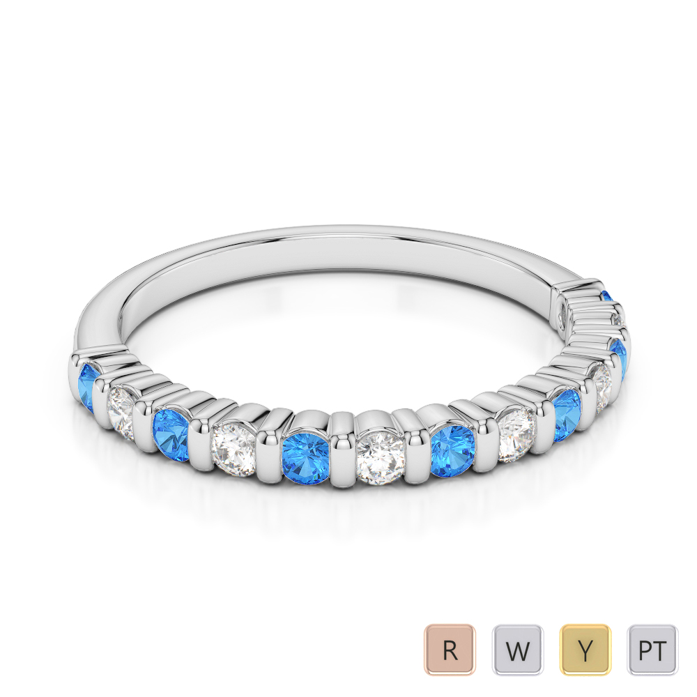 2 MM Gold / Platinum Round Cut Blue Topaz and Diamond Half Eternity Ring AGDR-1095