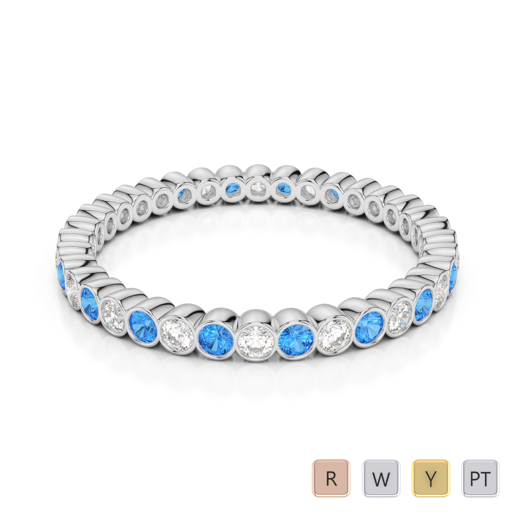 2 MM Gold / Platinum Round Cut Blue Topaz and Diamond Full Eternity Ring AGDR-1098