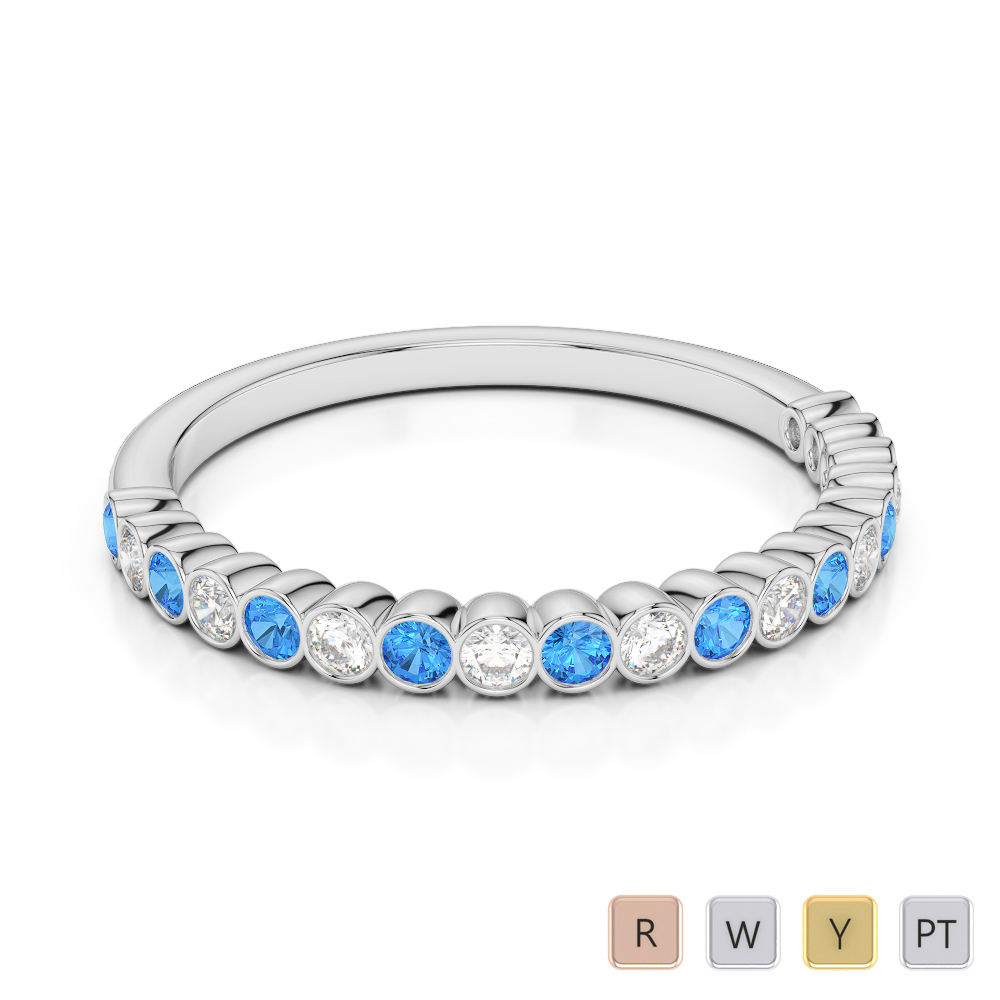 2 MM Gold / Platinum Round Cut Blue Topaz and Diamond Half Eternity Ring AGDR-1101