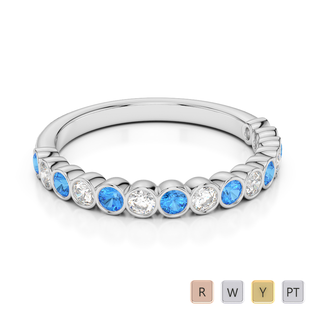 2.5 MM Gold / Platinum Round Cut Blue Topaz and Diamond Half Eternity Ring AGDR-1102