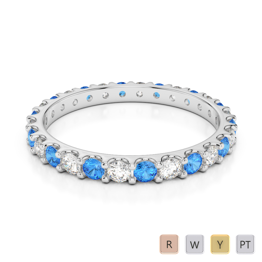 2 MM Gold / Platinum Round Cut Blue Topaz and Diamond Full Eternity Ring AGDR-1104