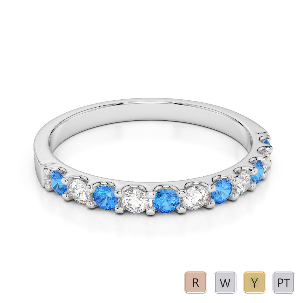 2 MM Gold / Platinum Round Cut Blue Topaz and Diamond Half Eternity Ring AGDR-1107