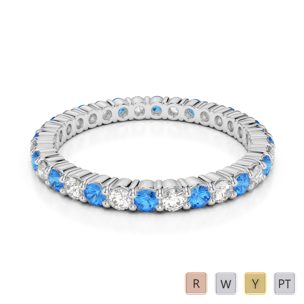 2 MM Gold / Platinum Round Cut Blue Topaz and Diamond Full Eternity Ring AGDR-1110