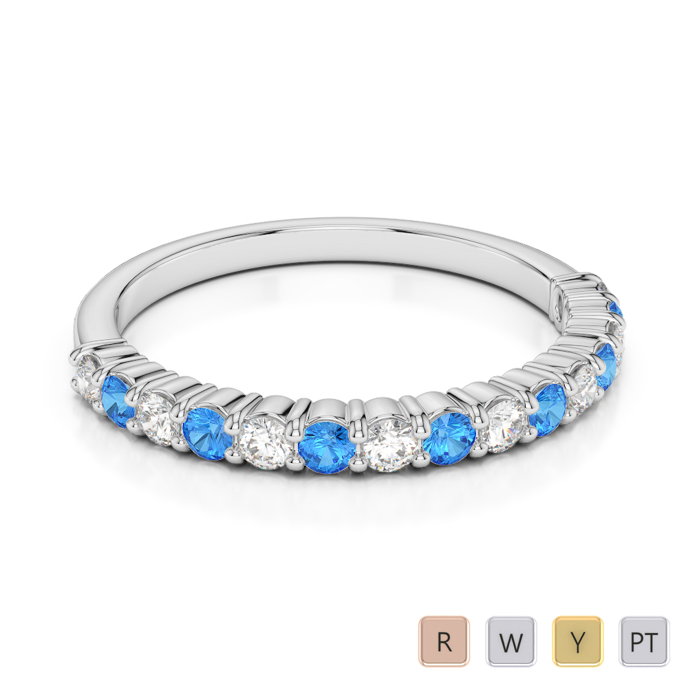 2 MM Gold / Platinum Round Cut Blue Topaz and Diamond Half Eternity Ring AGDR-1113