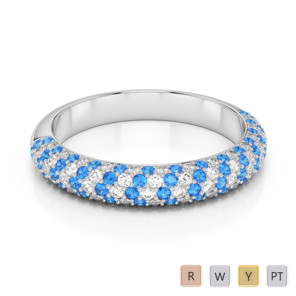 Gold / Platinum Round Cut Blue Topaz and Diamond Half Eternity Ring AGDR-1118