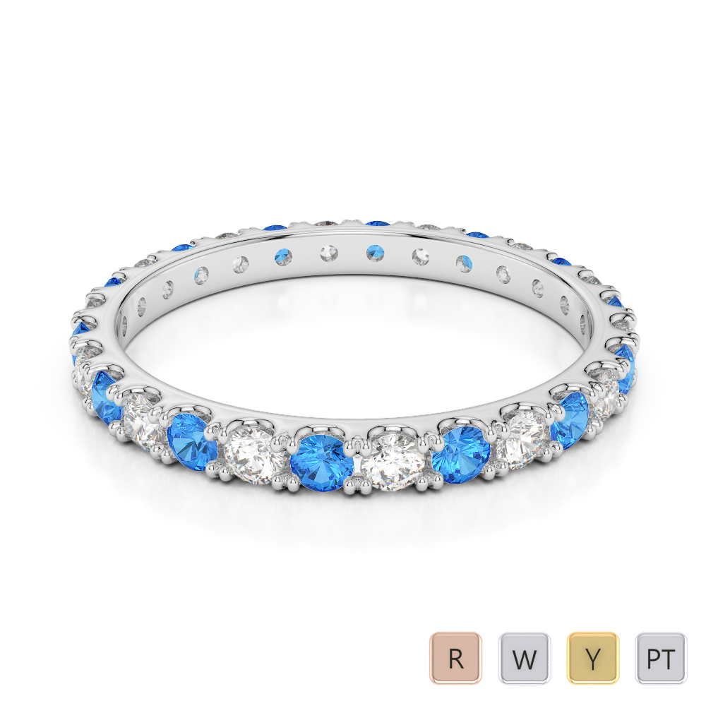 2 MM Gold / Platinum Round Cut Blue Topaz and Diamond Full Eternity Ring AGDR-1120