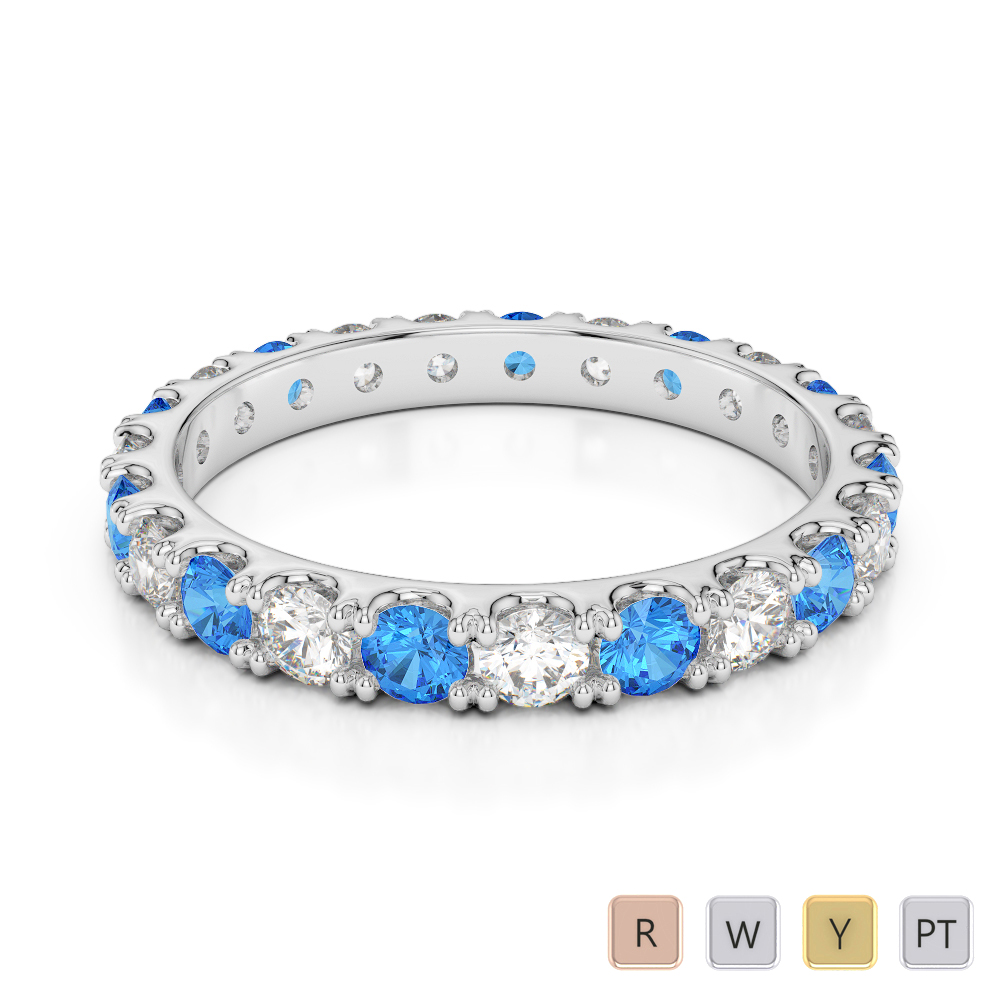 2.5 MM Gold / Platinum Round Cut Blue Topaz and Diamond Full Eternity Ring AGDR-1121