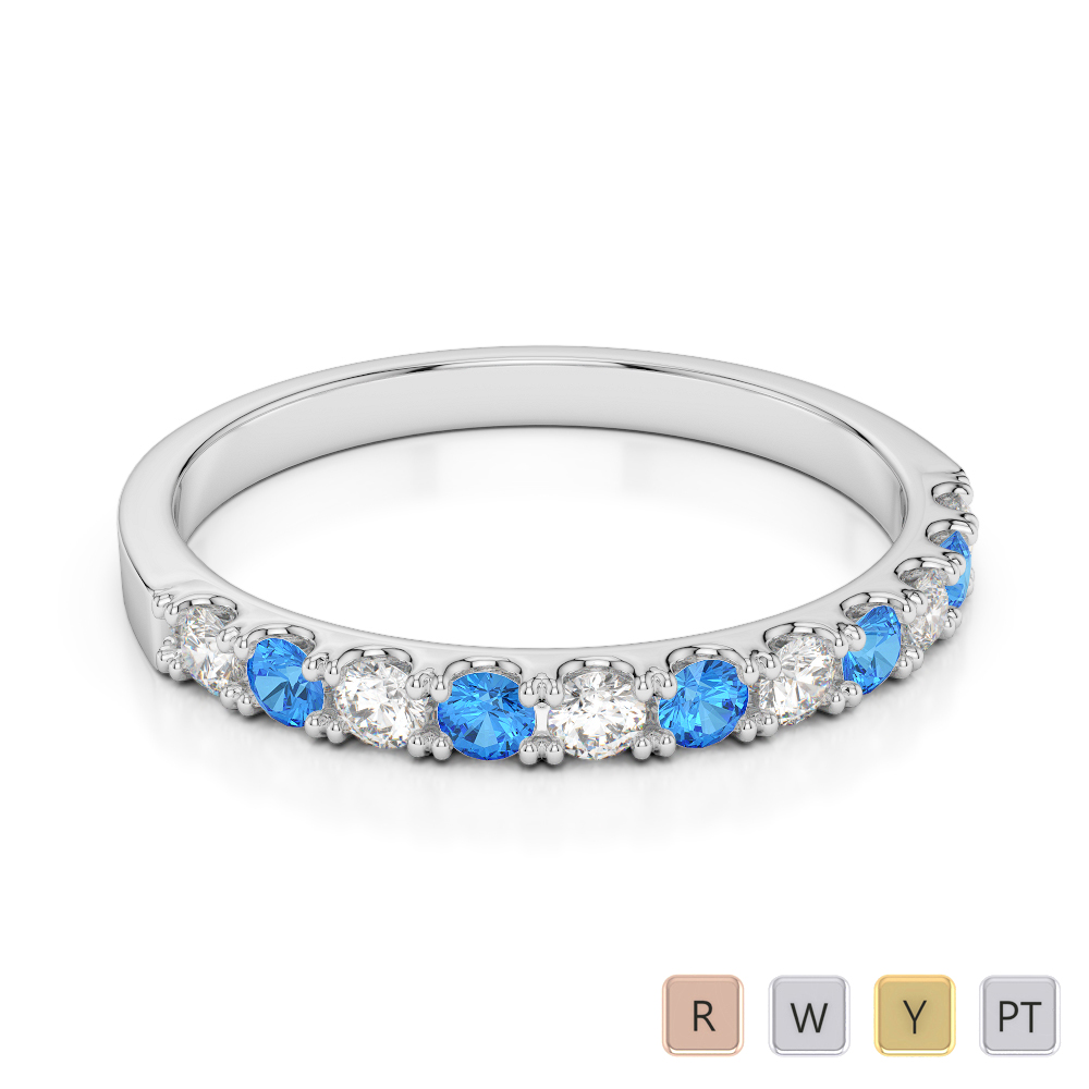 2 MM Gold / Platinum Round Cut Blue Topaz and Diamond Half Eternity Ring AGDR-1123
