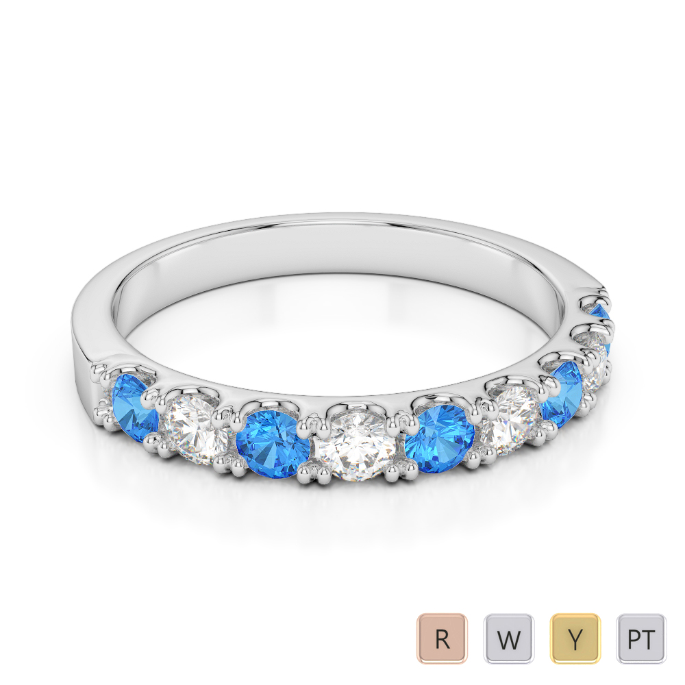 Gold / Platinum Round Cut Blue Topaz and Diamond Half Eternity Ring AGDR-1124