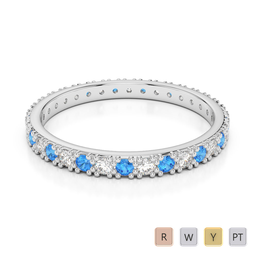 2 MM Gold / Platinum Round Cut Blue Topaz and Diamond Full Eternity Ring AGDR-1126