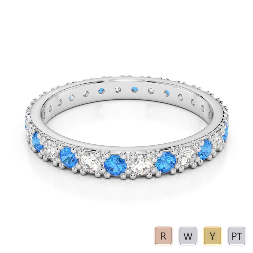 2.5 MM Gold / Platinum Round Cut Blue Topaz and Diamond Full Eternity Ring AGDR-1127