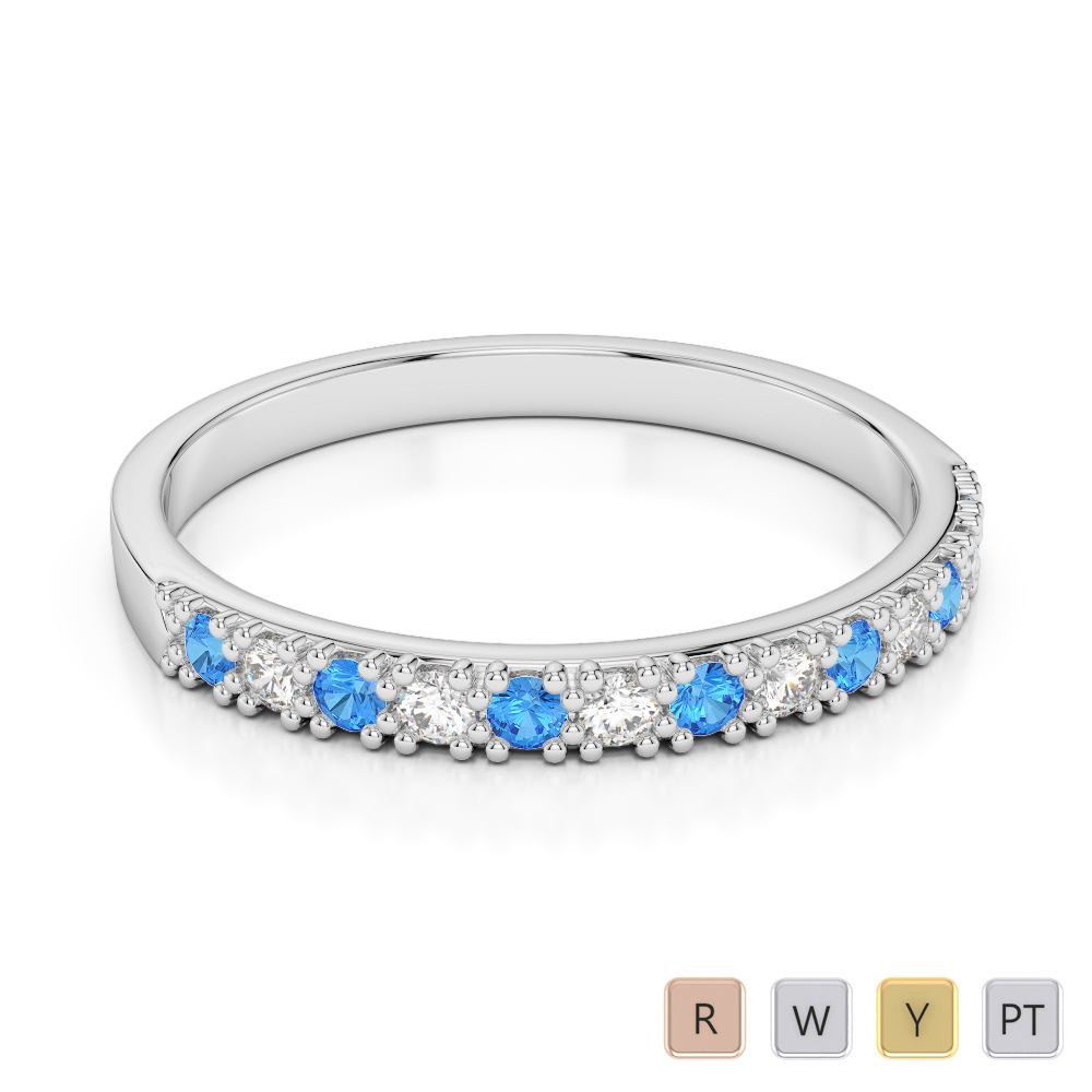 2.5 MM Gold / Platinum Round Cut Blue Topaz and Diamond Half Eternity Ring AGDR-1129
