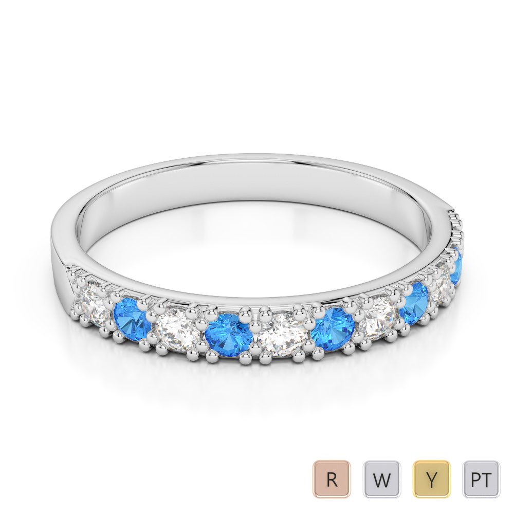 3 MM Gold / Platinum Round Cut Blue Topaz and Diamond Half Eternity Ring AGDR-1130