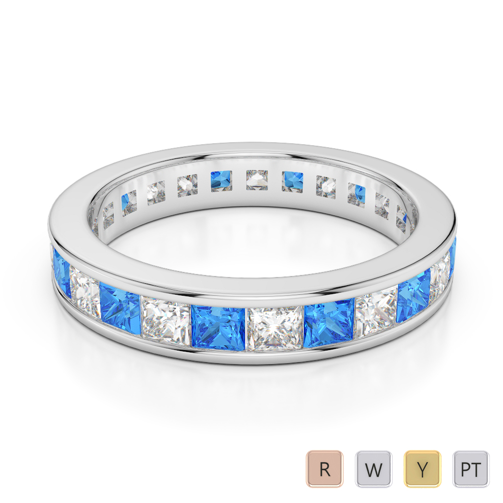 4 MM Gold / Platinum Princess Cut Blue Topaz and Diamond Full Eternity Ring AGDR-1134