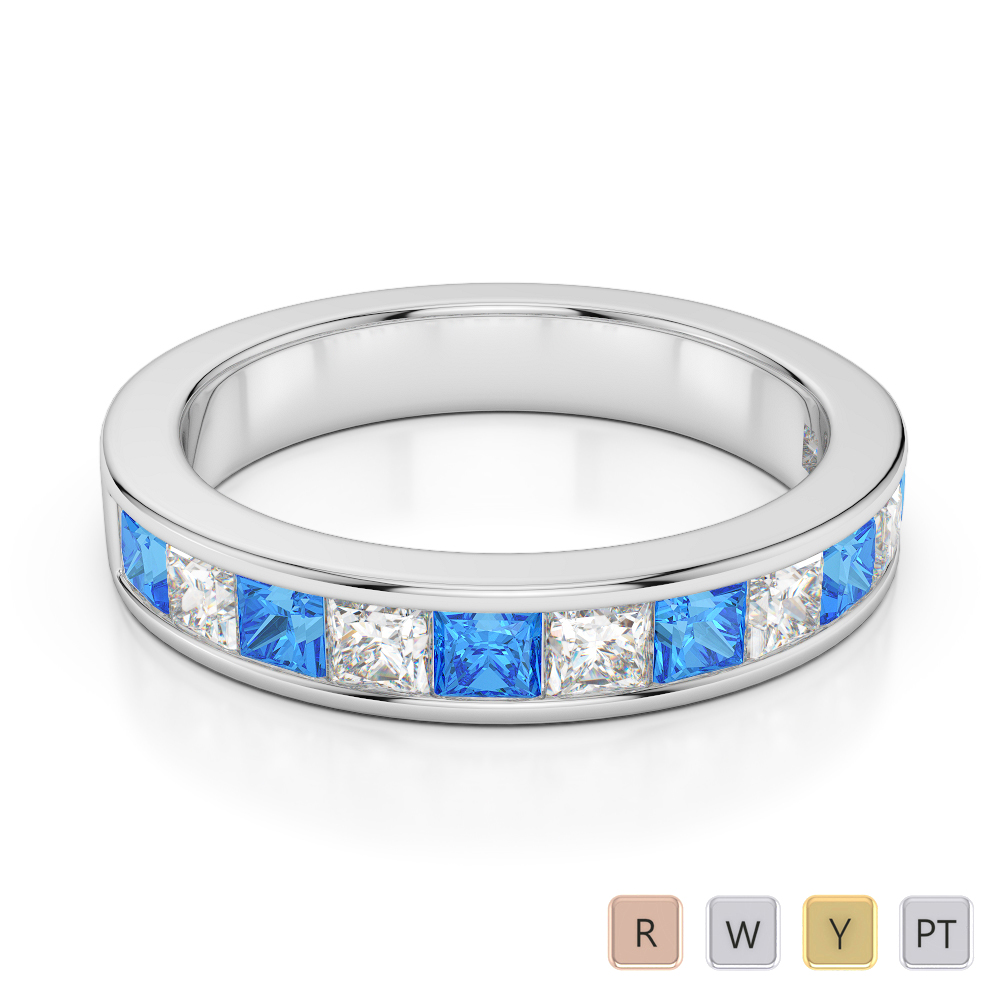 4 MM Gold / Platinum Princess Cut Blue Topaz and Diamond Half Eternity Ring AGDR-1137