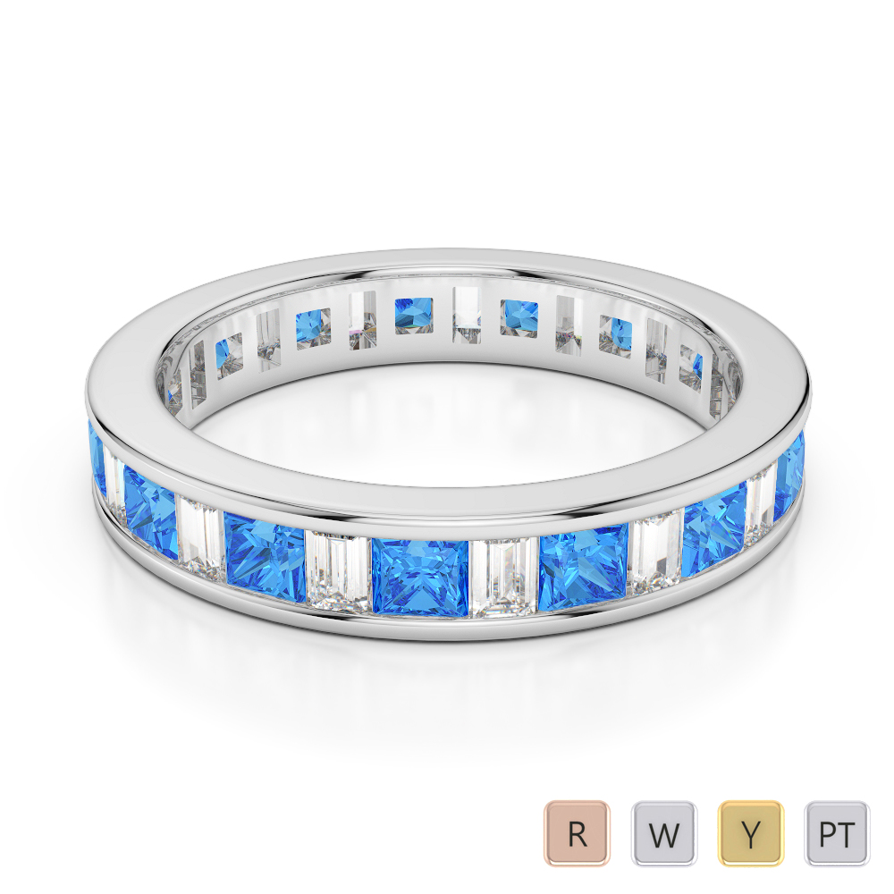 4 MM Gold / Platinum Princess and Baguette Cut Blue Topaz and Diamond Full Eternity Ring AGDR-1141