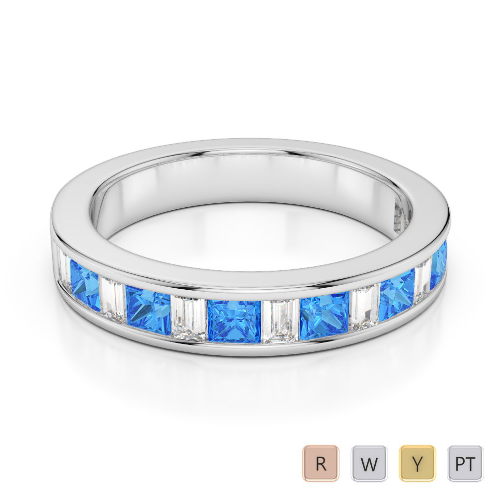 4 MM Gold / Platinum Princess and Baguette Cut Blue Topaz and Diamond Half Eternity Ring AGDR-1143