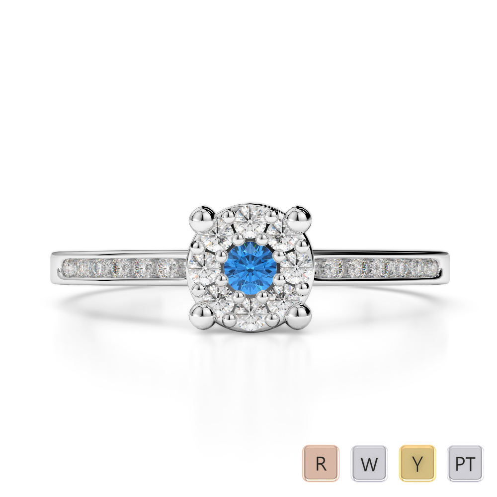Gold / Platinum Round Cut Blue Topaz and Diamond Engagement Ring AGDR-1163