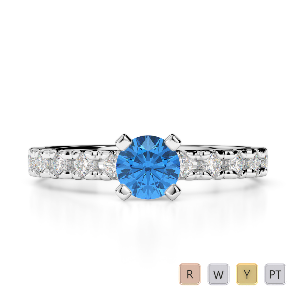 Gold / Platinum Round Cut Blue Topaz and Diamond Engagement Ring AGDR-1171
