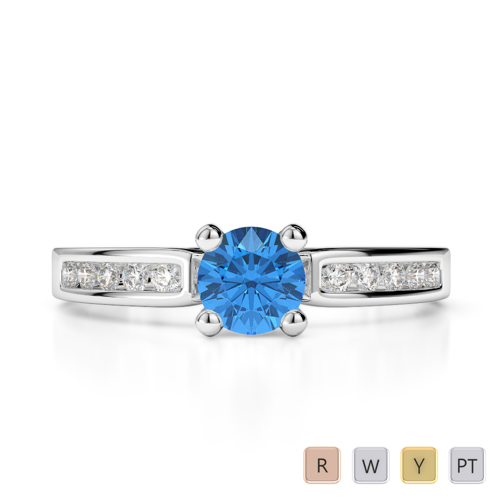 Gold / Platinum Round Cut Blue Topaz and Diamond Engagement Ring AGDR-1184