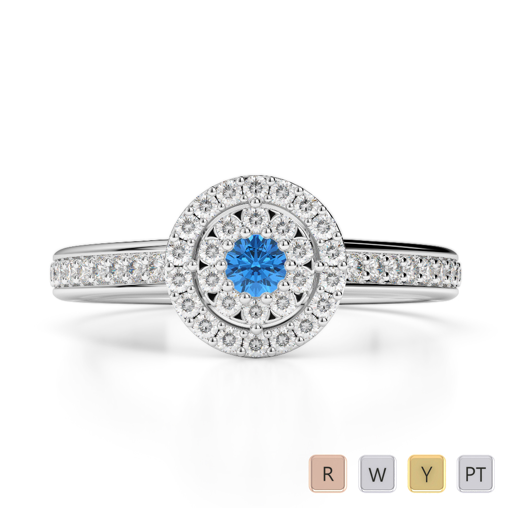 Gold / Platinum Round Cut Blue Topaz and Diamond Engagement Ring AGDR-1188