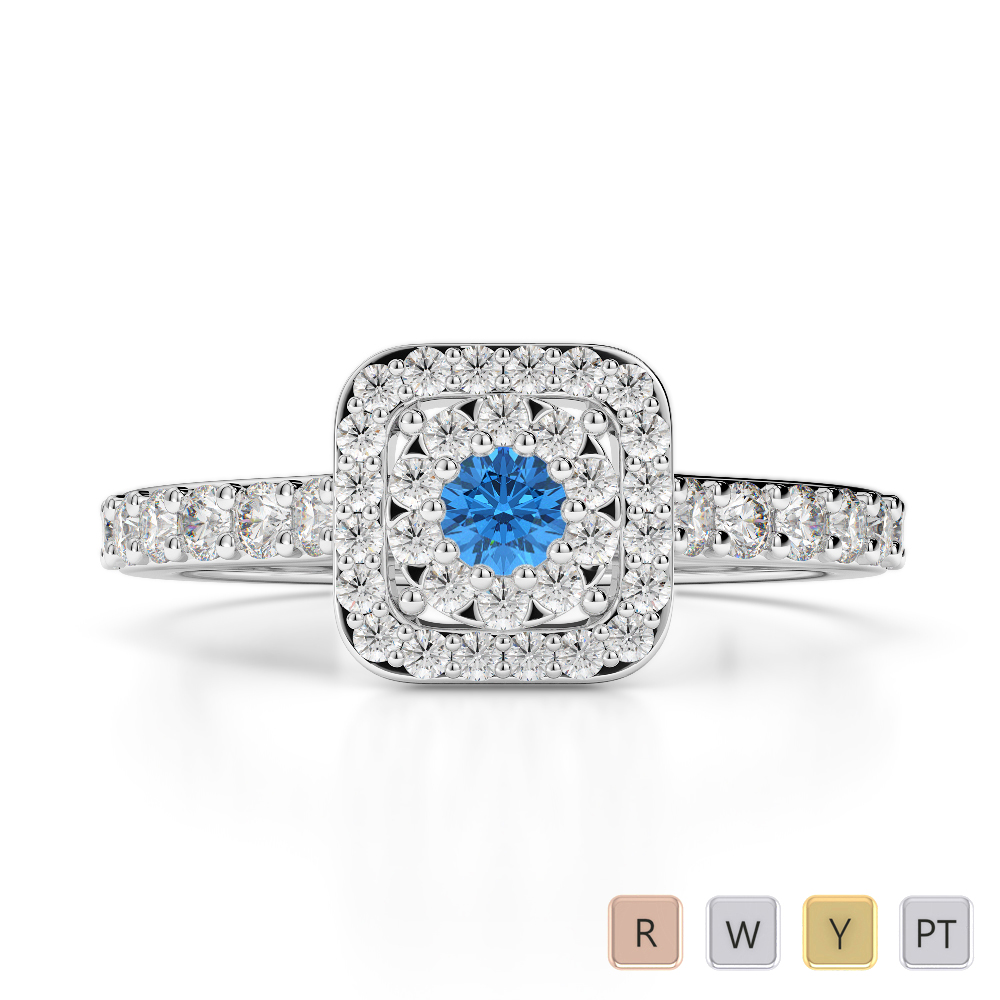 Gold / Platinum Round Cut Blue Topaz and Diamond Engagement Ring AGDR-1189