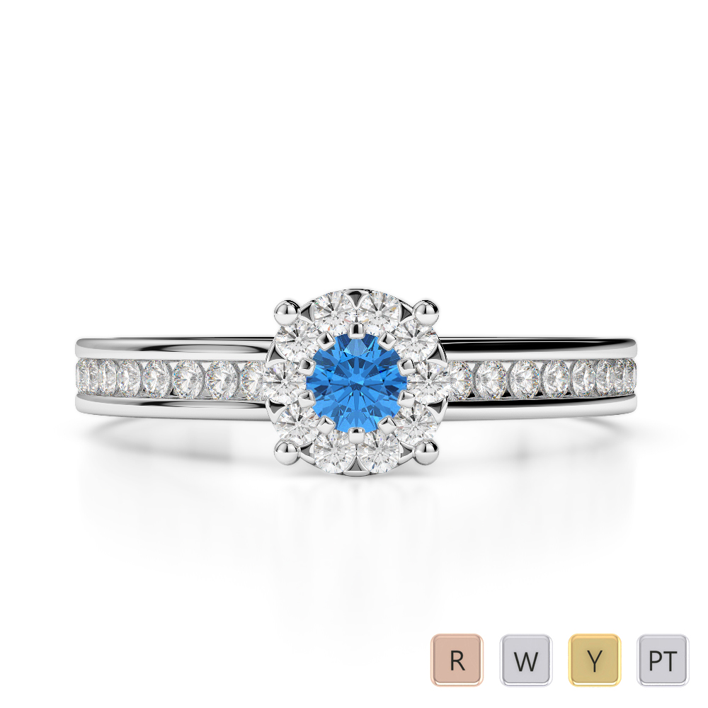 Gold / Platinum Round Cut Blue Topaz and Diamond Engagement Ring AGDR-1190