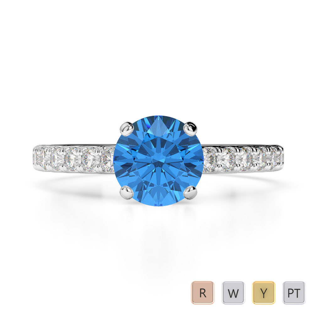 Gold / Platinum Round Cut Blue Topaz and Diamond Engagement Ring AGDR-1201