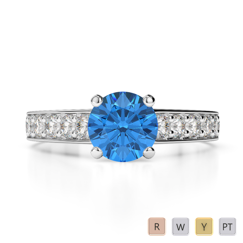 Gold / Platinum Round Cut Blue Topaz and Diamond Engagement Ring AGDR-1202