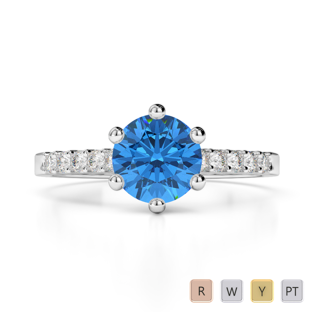 Gold / Platinum Round Cut Blue Topaz and Diamond Engagement Ring AGDR-1208