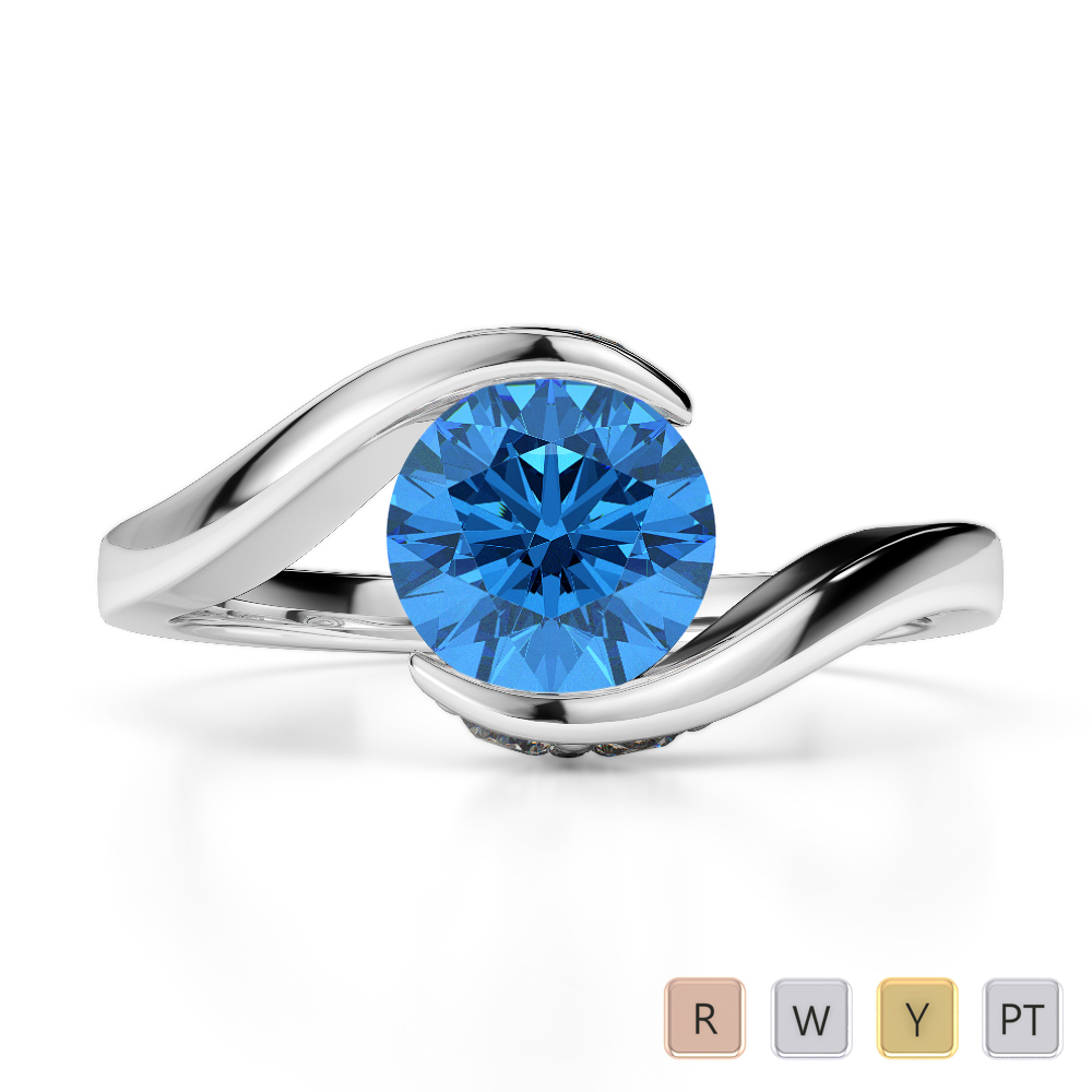 Gold / Platinum Round Cut Blue Topaz and Diamond Engagement Ring AGDR-1209